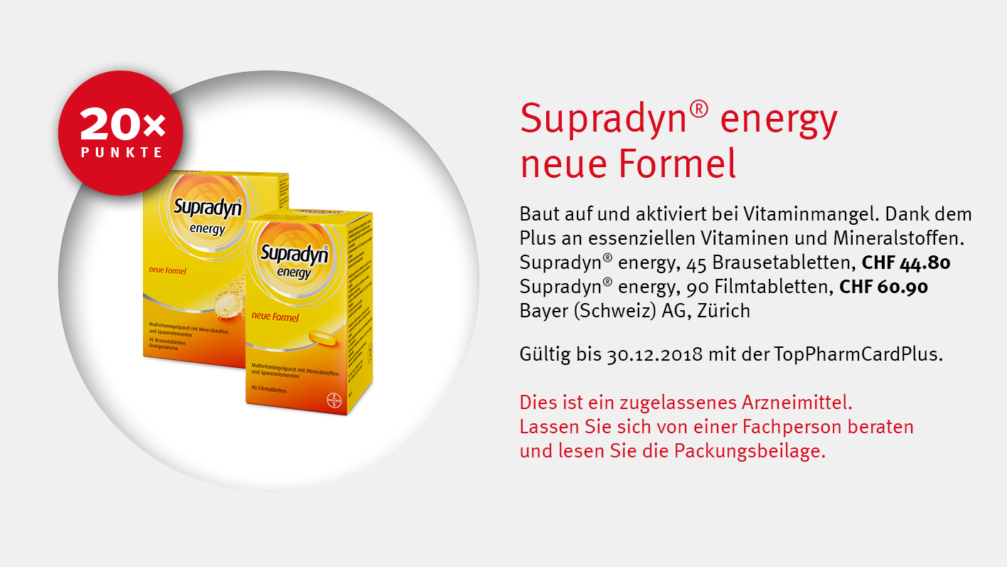 Supradyn® energy / Bayer / TopPharm Apotheke / Ihr Gesundheits-Coach
