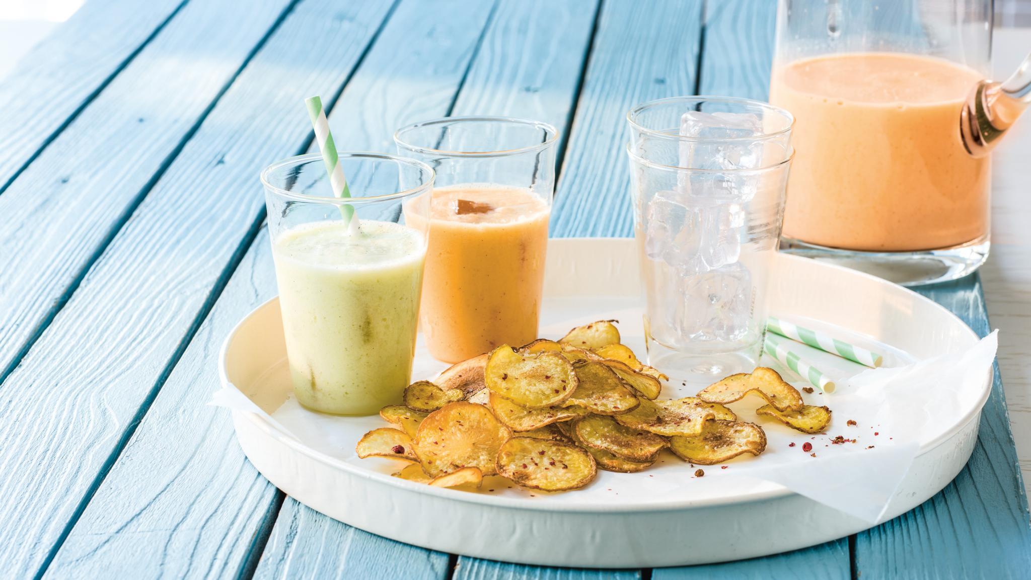Melonen-Lassi mit Rosa-Pfeffer-Chips