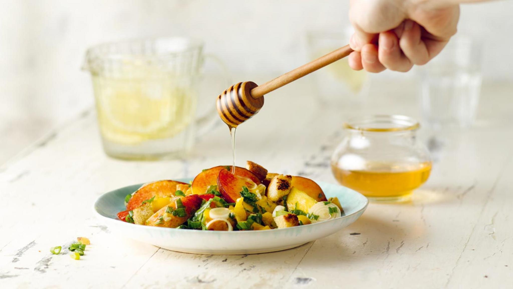 Peperoni-Pfirsich-Salat